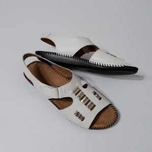 Auditions white with gold and silver sandals